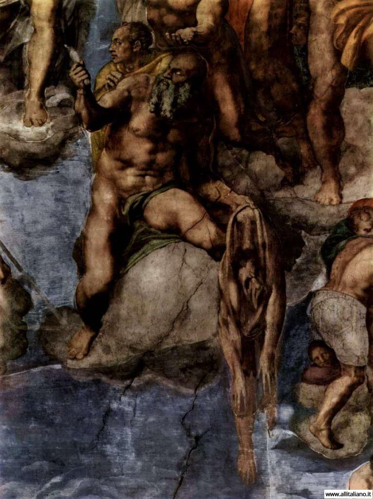 Варфоломей держит кожу, на которой автопортрет Микеланджело