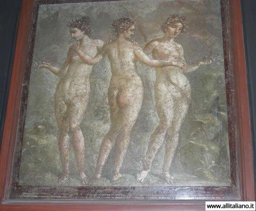 Три грации. Помпейская фреска. Национальный археологический музей Неаполя.