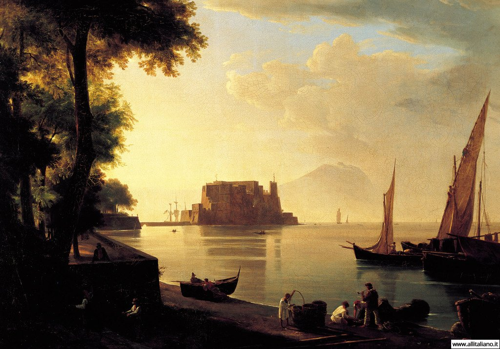 "Anton Sminck van Pitloo.  ""Castel dell'Ovo dalla spiaggia"""